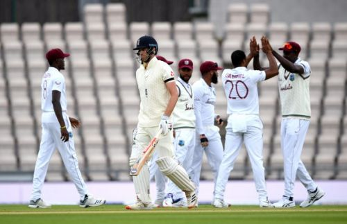 Rain affects first day of the Test after England and West Indies take a knee
