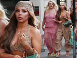 Jesy Nelson flaunts her toned abs in a Gucci crop top for 30th birthday celebrations