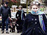 Helena Bonham Carter heads out for a dog walk with her The Cleaner co-star Greg Davies