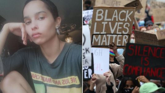 Zoe Kravitz proudly joins Black Lives Matter protests in London after sharing 'heartbreak' over George Floyd death