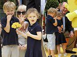 Monaco's royal twins Gabriella and Jacques, four, join Prince Albert for a fun-filled day