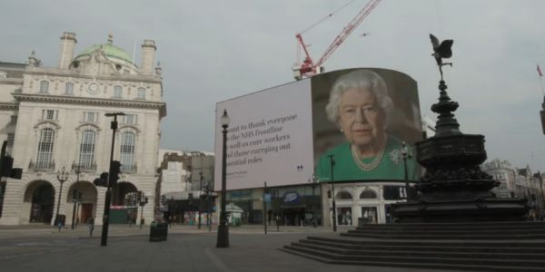 The Queen Hits London Billboard to Motivate the Empty Streets