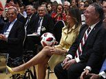 Trump throws soccer ball to Melania during Putin presser and says it will be a gift for Barron