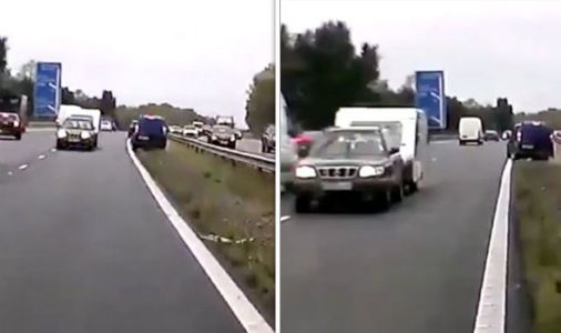 WATCH: Caravan with 'foreign plates' dragged WRONG WAY down motorway before SERIOUS crash