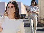 Kendall Jenner is sleek and chic in khaki slacks and a matching T-shirts for lunch in Beverly Hills