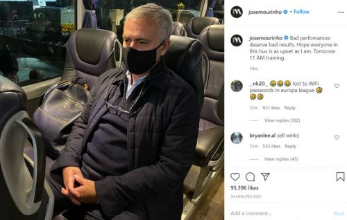 Photo: Jose Mourinho takes to Instagram to demonstrate that he's upset with Antwerp loss and orders squad in for training tomorrow