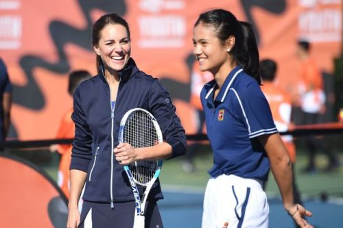 Sporty Kate Middleton matches tennis champ Emma Raducanu in navy and white