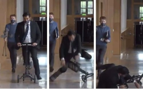 Scottish health secretary fails to see the funny side after he takes a tumble off his scooter