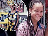 Rihanna pictured as a 14-year-old girl modeling costumes in her home country of Barbados