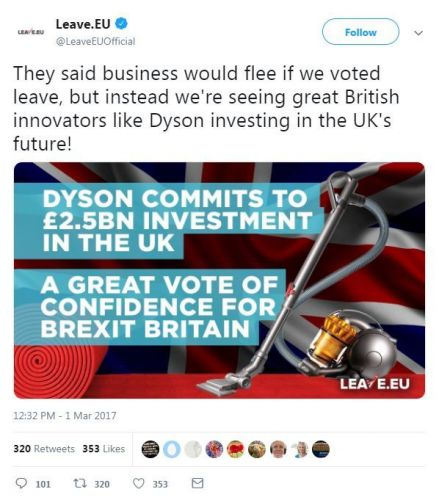 Leave campaign's tweet about Dyson staying in the UK has aged terribly