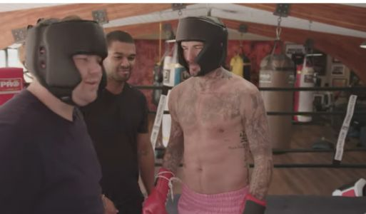 David Beckham goes topless as he challenges James Corden to boxing match on The Late Late Show