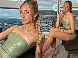Jack Grealish's girlfriend Sasha Attwood stuns in a skin-tight sage dress during a home photoshoot