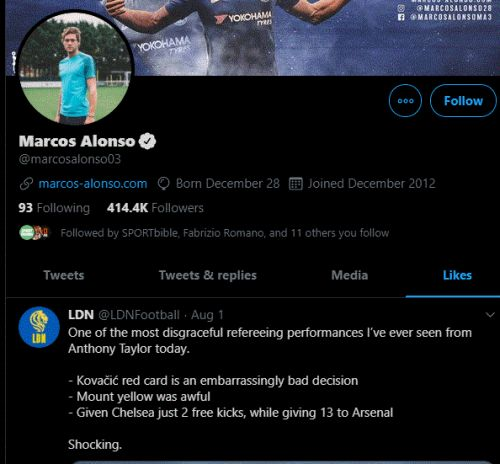 Chelsea star is clearly still hurting from the FA Cup final loss after he likes this tweet about Anthony Taylor