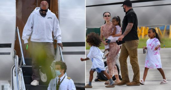 Kim Kardashian and Kanye West touch down in Miami from break in Dominican Republic to go 'glamping' with kids