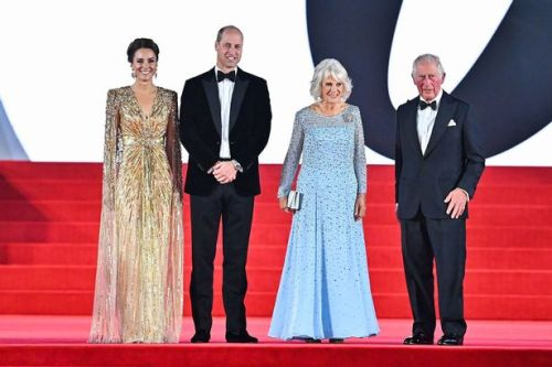 Kate Middleton dazzles in gold as she joins William, Charles and Camilla at James Bond premiere