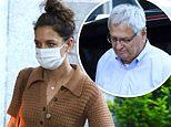 Katie Holmes shows off her midriff in a knitted crop top on a dinner date with her dad in NYC