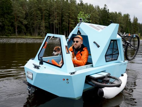 This amphibious electric boat and tricycle that triples as shelter you can sleep in at night was created for 'expeditions around the world'