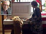 Touching photo shows a dog leaning over his owner's casket at his memorial service in North Carolina