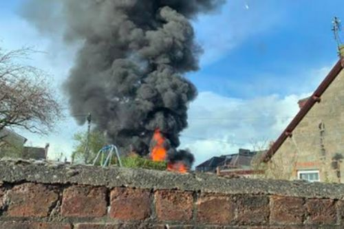 Fire crews race to blaze as pictures show smoke billow out above Scots town