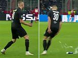 Erling Haaland throws water bottle in anger after Red Bull Salzburg concede against Liverpool
