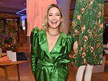 Kate Hudson dazzles in emerald green 80s-inspired dress at London launch of her new clothing line