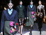Kaia Gerber leads Gigi Hadid and Cara Delevingne in Prada's Milan Fashion Week show