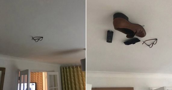 Son glues dad's belongings to the ceiling and adds more for every day he doesn't notice