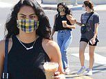 Camila Mendes goes sleeveless in black on coffee run with friend in LA during break from quarantine