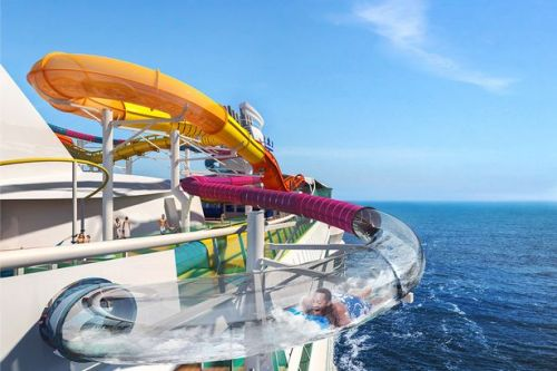 Cruise ships' water parks boast some pretty thrilling water slides