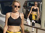 David Hasselhoff's wife Hayley Roberts, 40, showcases her abs in a tiny black crop top