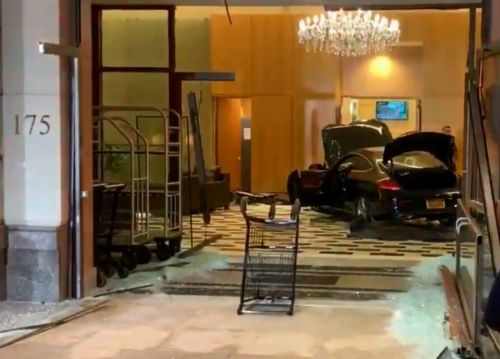 Trump Plaza New Rochelle - Car ploughs into lobby of Donald Trump building in New York
