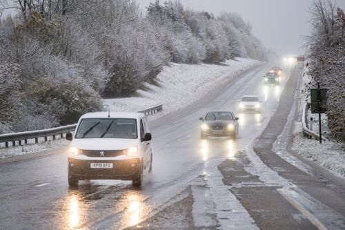 UK weather forecast - Snow hits England as icy roads spark travel chaos and a month's worth of rain to fall TODAY