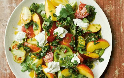 Salad of tomatoes, nectarines and labneh with chermoula recipe