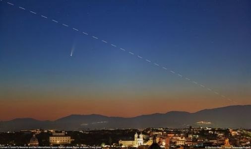 Comet NEOWISE: Astronomer captures STUNNING sunrise photo of comet and ISS over Rome