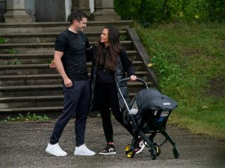 Disgraced ex-Premier League star Adam Johnson takes newborn son around the park with girlfriend and daughter