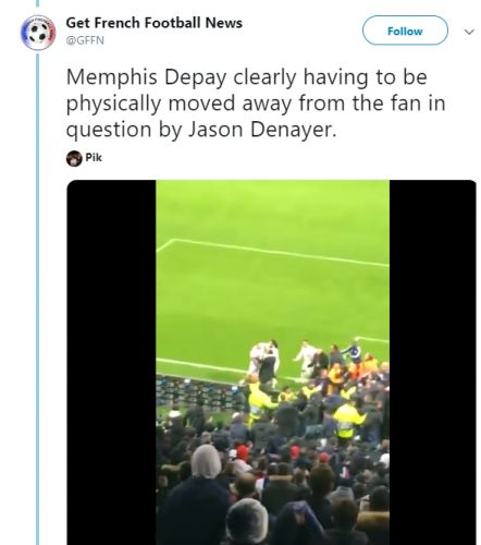 Memphis Depay clashes with Lyon Ultras as he tries to snatch flag branding team-mate Marcelo a donkey