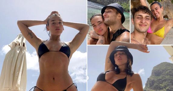 Dua Lipa spams us all with dreamy holiday pics from St Lucia as she and boyfriend Anwar Hadid head back to US