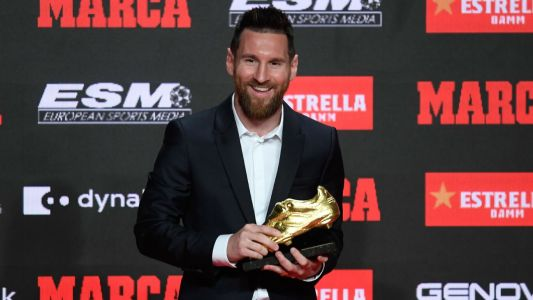Barcelona forward Messi presented with Golden Shoe for record sixth time