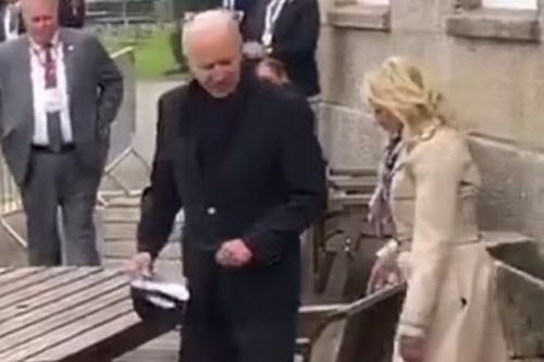 Joe Biden spotted in trainers as hotel staff boot TV crew from his table
