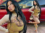 Nicki Minaj shows off her impeccable sense of style in a multipatterned top