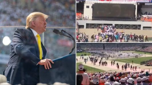 Hundreds seen leaving stadium during lengthy speech by Donald Trump