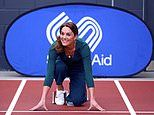 Kate Middleton dresses down in jeans and trainers for a SportsAid event at London Stadium