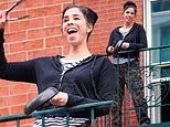 Sarah Silverman creates noise with frying pan and tongs as she salutes NYC healthcare workers