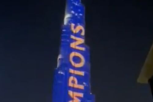 Rangers fans light up world's tallest building with '55' tribute