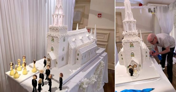 Baker creates incredible 8ft tall wedding cake that weighs seven stone - and cost £1,500