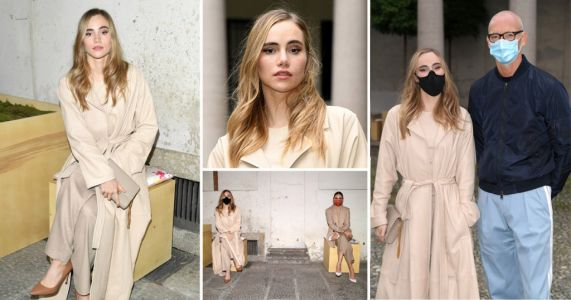 Suki Waterhouse glows in monochrome as she masks up for socially distant Milan Fashion Week