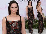 Felicity Jones looks stunning in floral print dress with a sky-high split at the V&A Summer Party