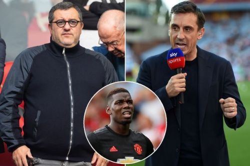 Gary Neville admits Paul Pogba wants to leave Man Utd and labels star's agent a 'disgrace'
