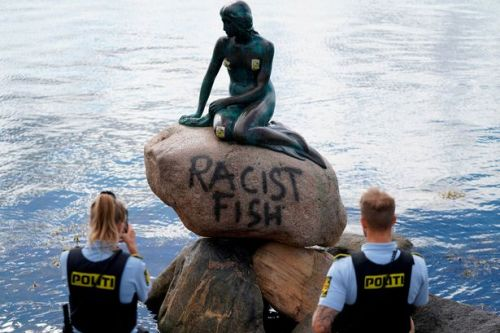 Little Mermaid statue honouring fairy tale covered in 'racist fish' graffiti