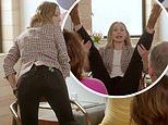 Kristen Bell demonstrates modern birthing positionsto a group of shocked soon-to-be grandparents
